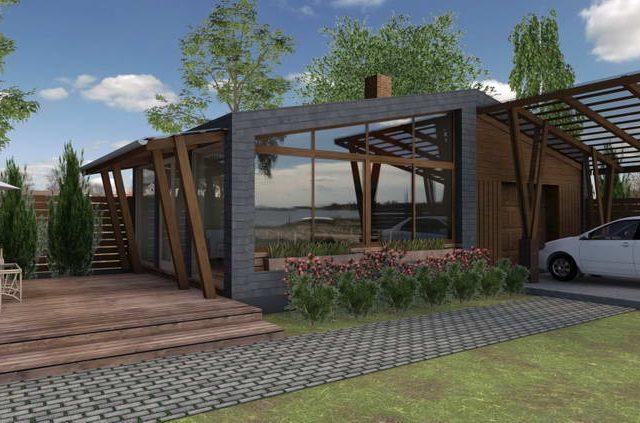 Un garaj și o bucătărie de vară cu o terasă