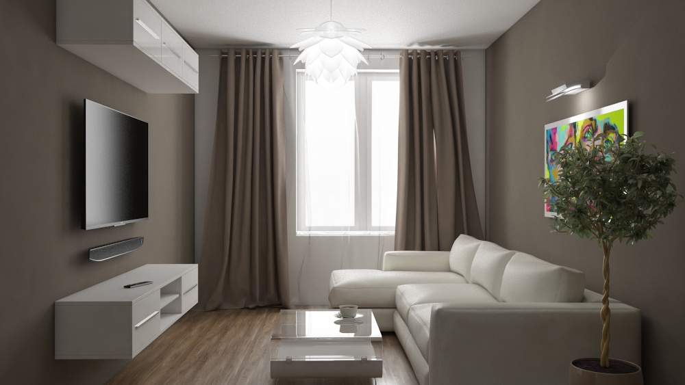Interior design apartments, living room, three room flat