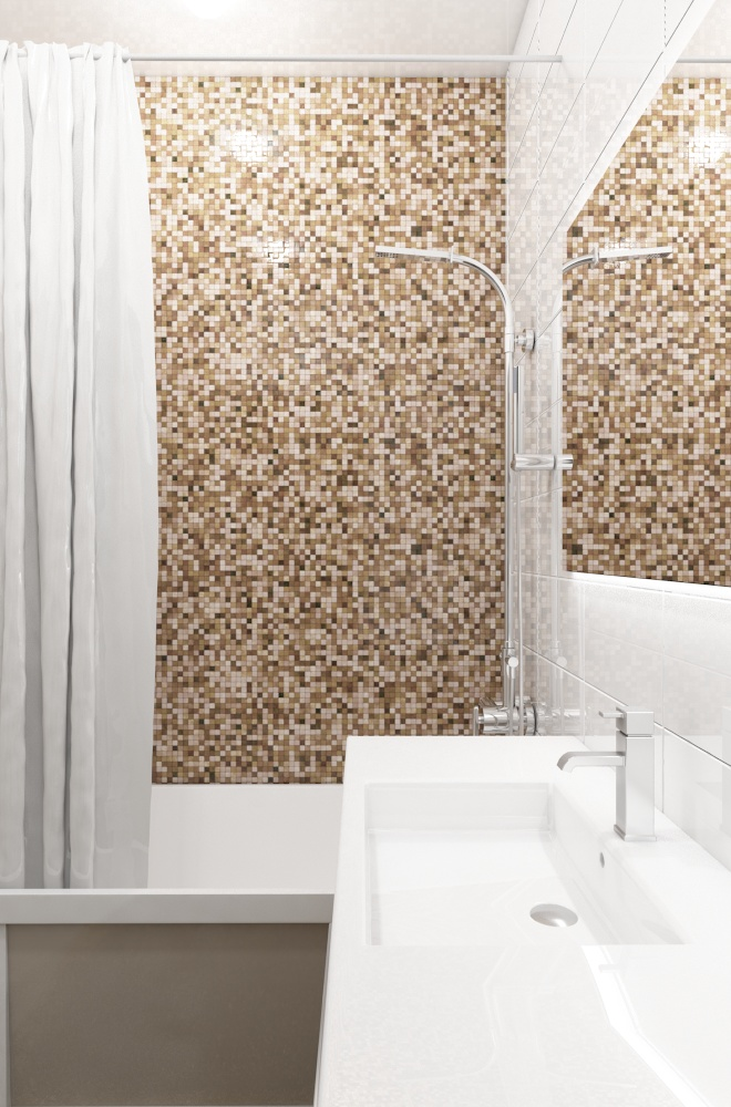 Interior design of the apartment bathroom modern style, mosaic, tile