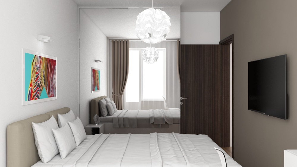 apartment bedroom interior design of high-tech