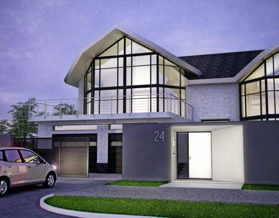 Дизайн архитектуры загородного дома и забора, коттедж