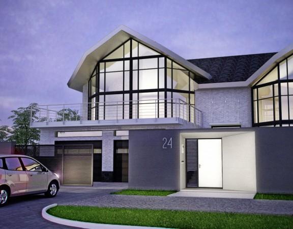 Arkitektur design av ett hus på landet och ett staket, cottage