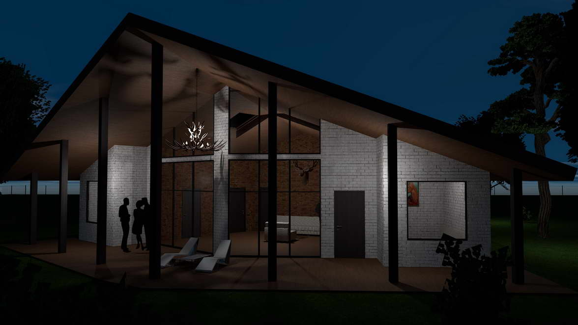 The architectural design of a brick cottage with panoramic windows