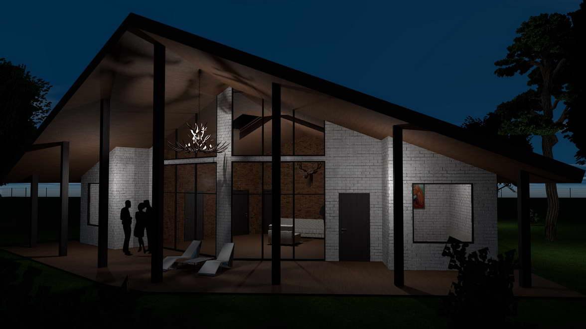 Архитектурный проект кирпичного котеджа с панорамными окнами