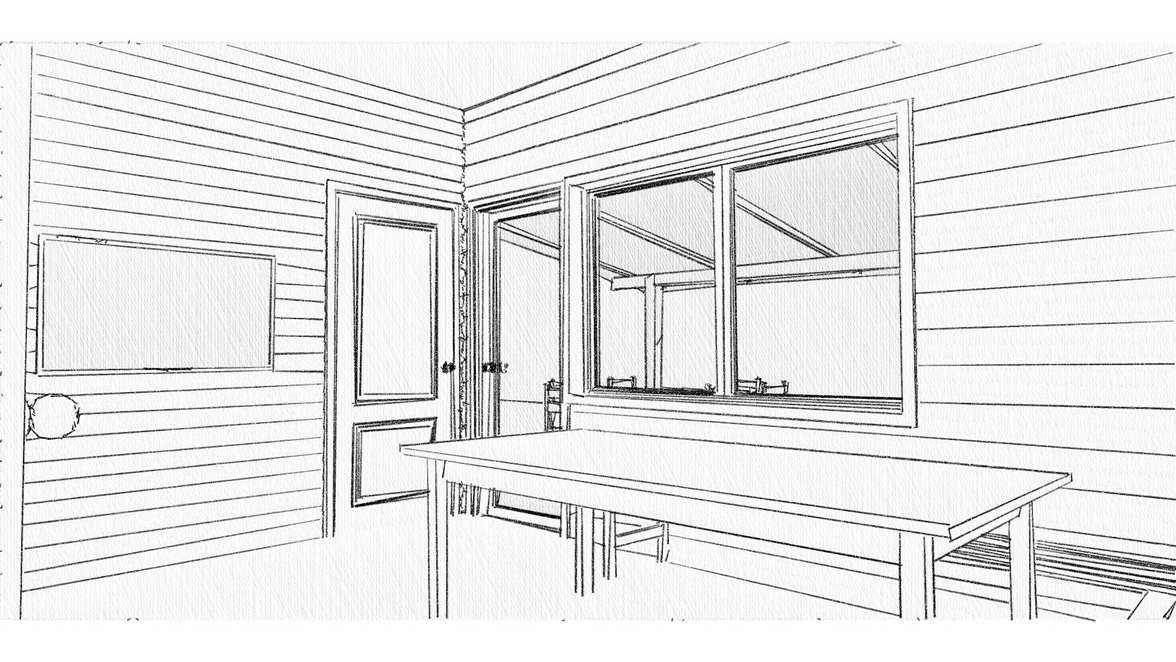 preliminary design of the bathhouse and relaxation room with a veranda
