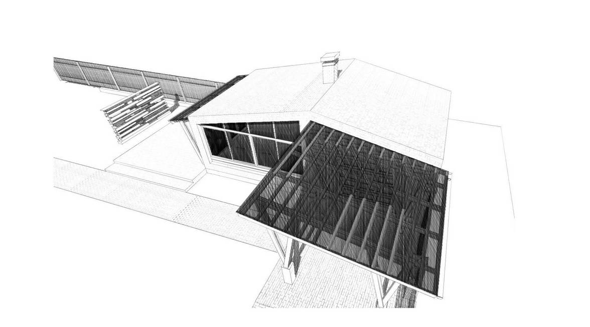 architectural sketch garage and a summer kitchen with a terrace