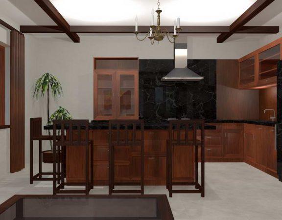 Olohuone sisätilojen maan talon keittiö