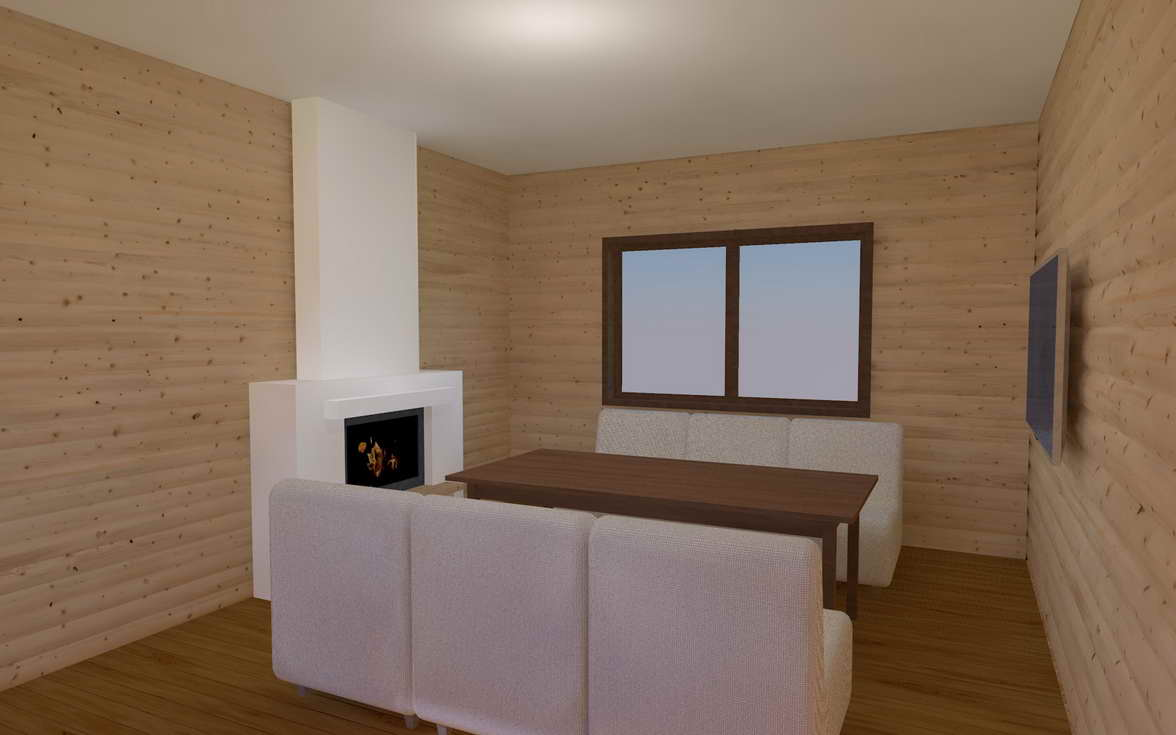 living room with fireplace in the bath