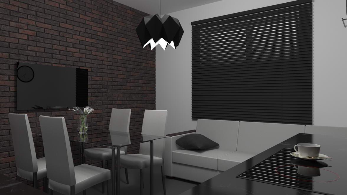 光学キッチンのアパートのインテリアデザイン