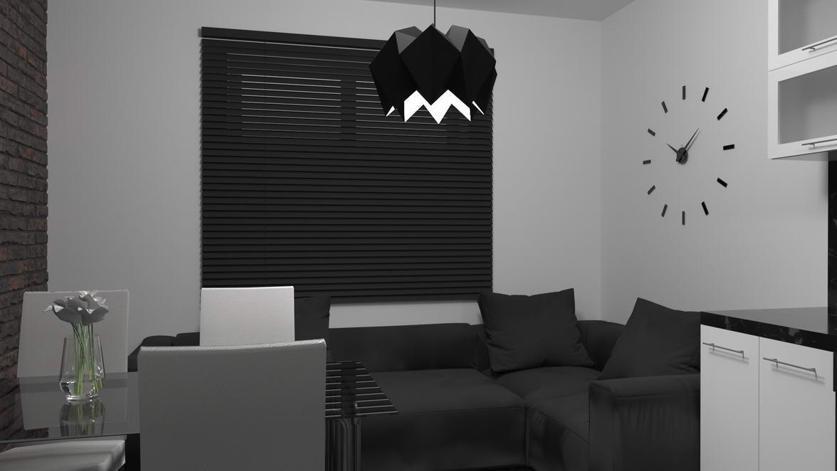 광학 부엌에있는 아파트의 인테리어 디자인