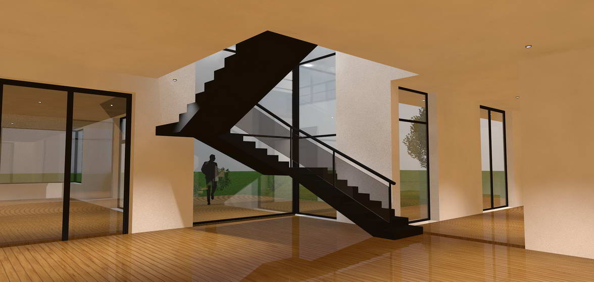 Interior country-house high-tech design of stairs