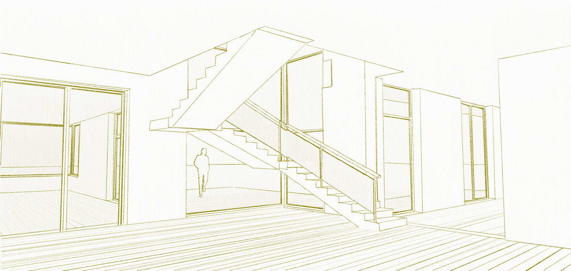 stairs interior design country house tech sketch