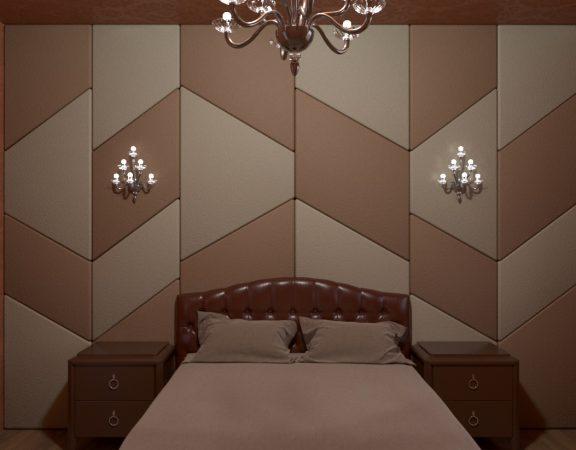 interjera dizaina guļamistabas ar mīkstu sienas paneli